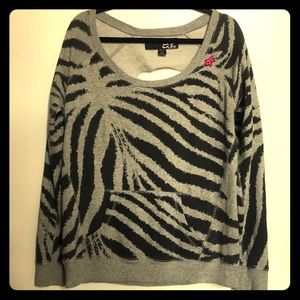 Fox brand zebra sweatshirt with sliced back